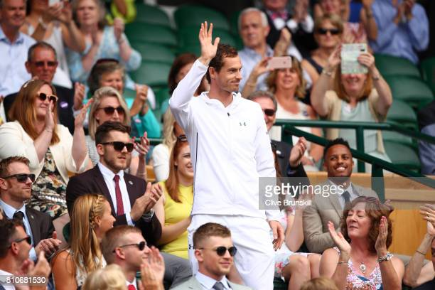 Andy Murray is introduced to the crowd from the centre court royal box on day six of the Wimbledon Lawn Tennis Championships at the All England Lawn...