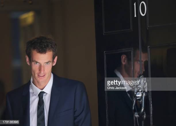 Andy Murray leaves10 Downing Street after attending a crossparty reception in the garden of Downing Street on July 8 2013 in London England