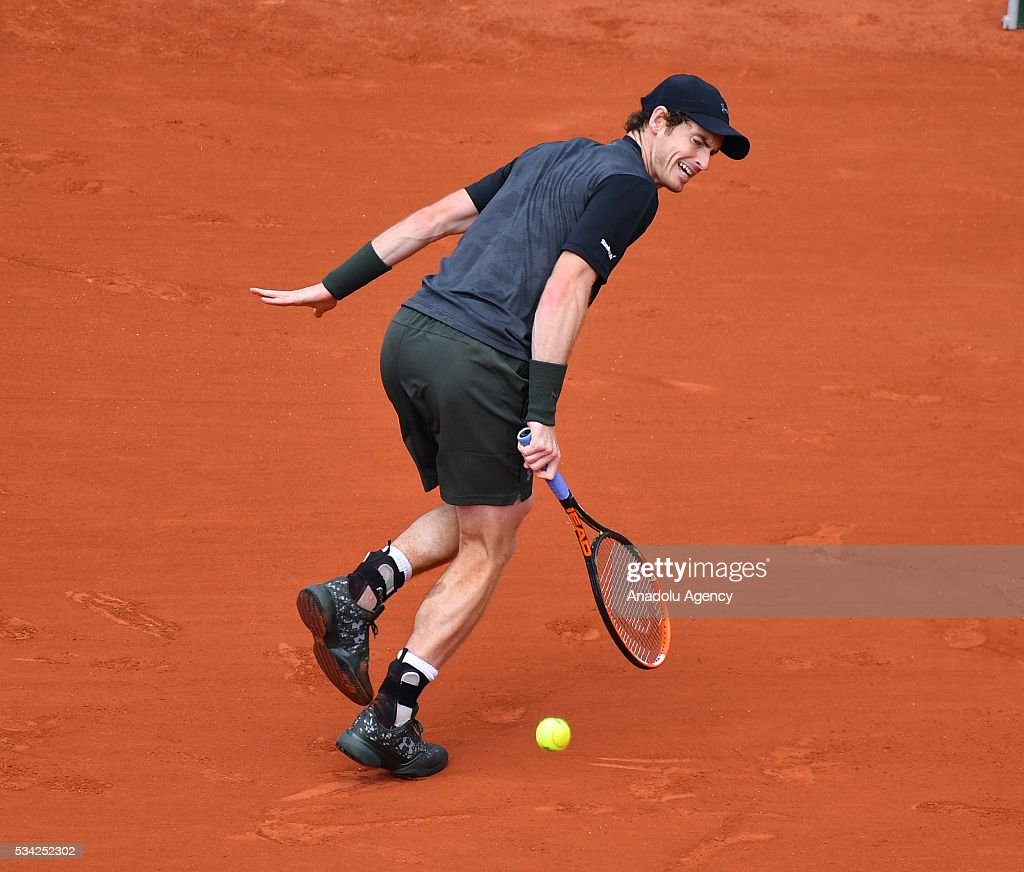 Andy Murray of Britain in an action during the men's single second round match against Mathias Bourgue of France at the French Open tennis tournament at Roland Garros in Paris, France on May 25, 2016.