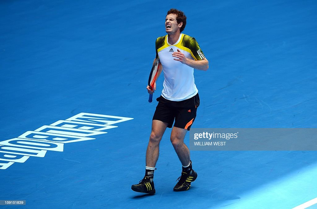 Andy Murray of Britain reacts during a training session at Melbourne on January 9, 2013. Top players are arriving in Melbourne ahead of the Australian Open which runs January 14-27. AFP PHOTO/William WEST IMAGE