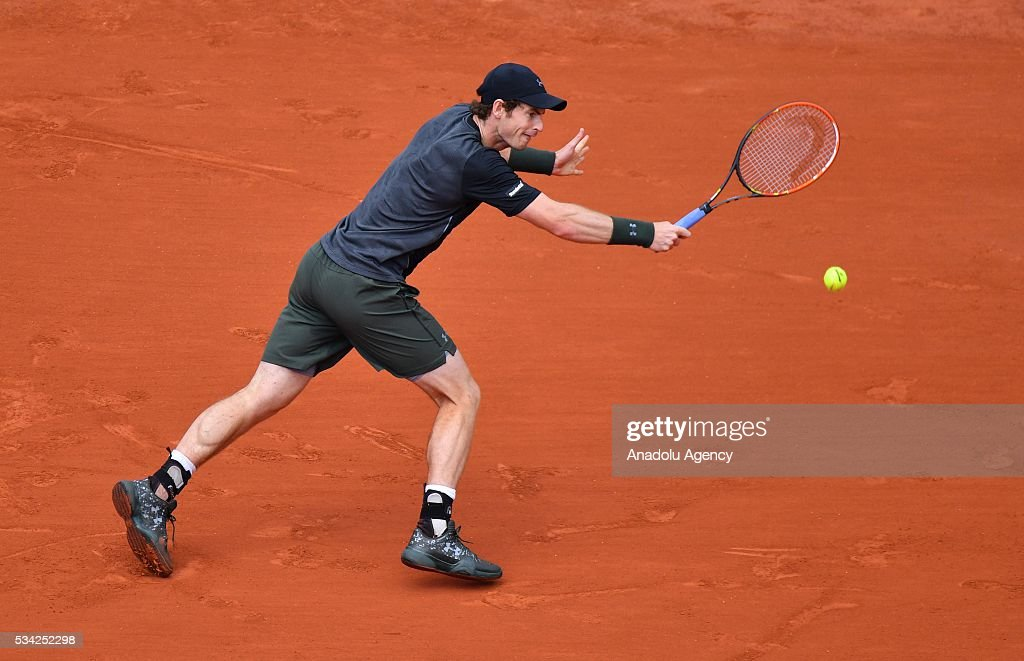 Andy Murray of Britain returns the ball during the men's single second round match against Mathias Bourgue of France at the French Open tennis tournament at Roland Garros in Paris, France on May 25, 2016.