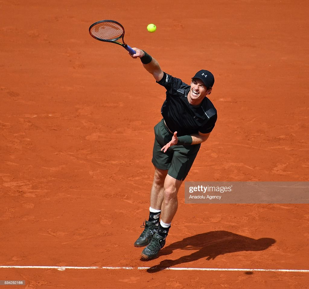 Andy Murray of Britain serves the ball during the men's single second round match against Mathias Bourgue of France at the French Open tennis tournament at Roland Garros in Paris, France on May 25, 2016.