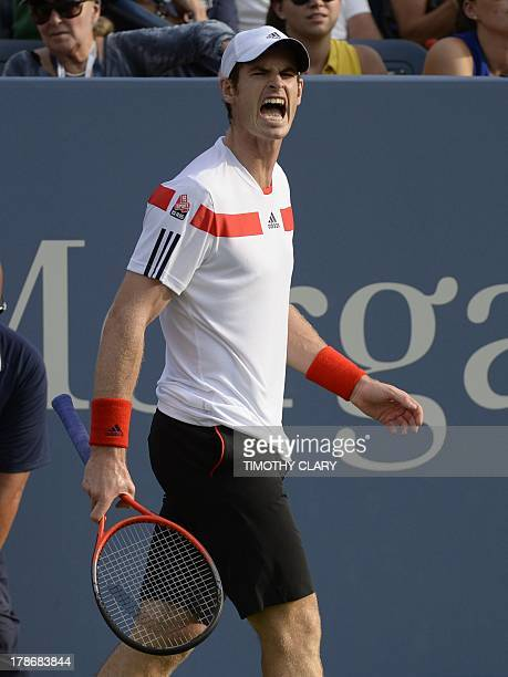 Andy Murray of Britain yells during play against Leonardo Mayer of Argentina during their 2013 US Open men's singles match at the USTA Billie Jean...