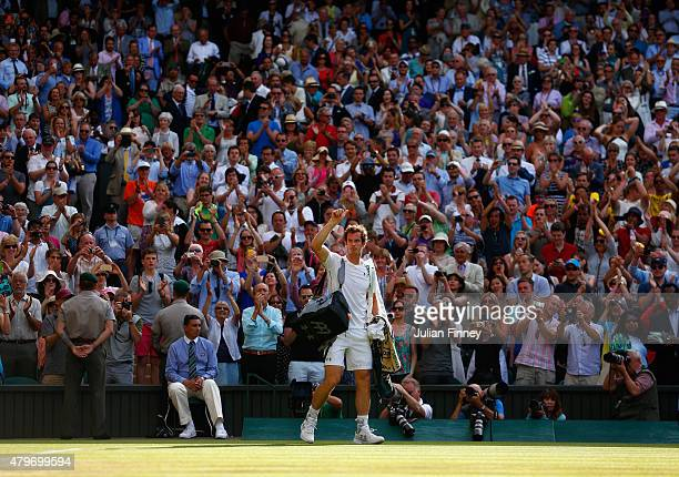 Andy Murray of Great Britain acknowledges the crowd after victory in his Gentlemen's Singles Fourth Round match against Ivo Karlovic of Croatia...