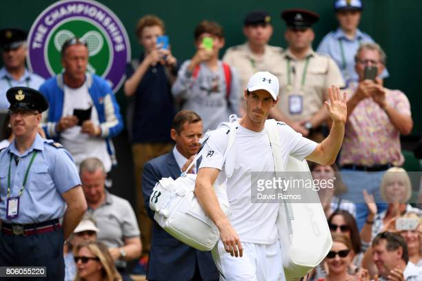 Andy Murray of Great Britain acknowledges the crowd ahead of his the Gentlemen's Singles first round match against Alexander Bublik of Kazakhstan on...