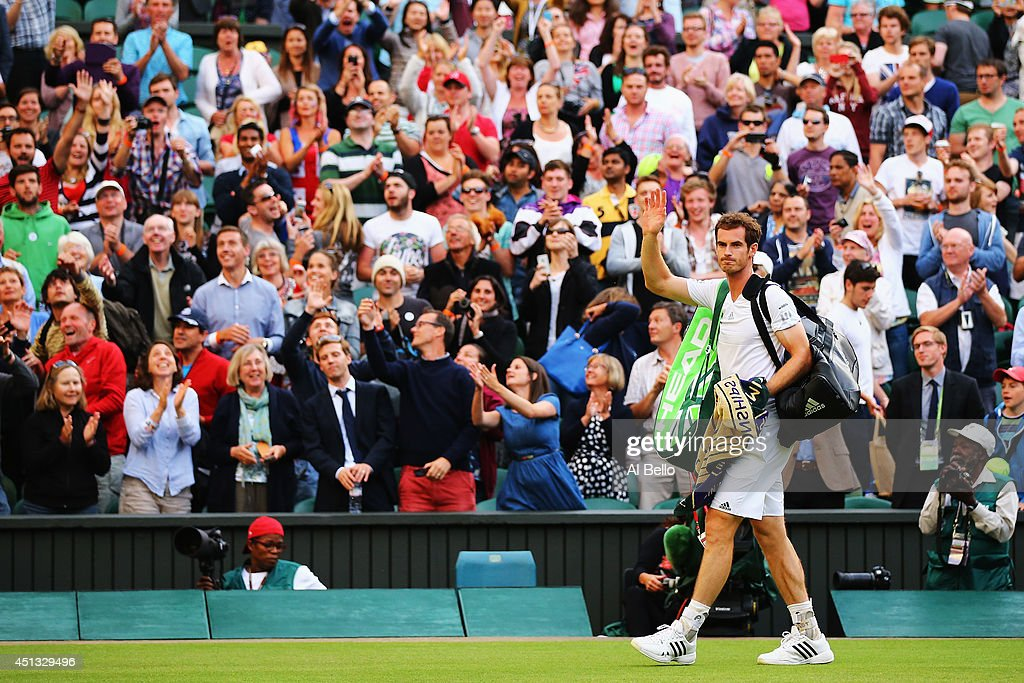 Andy Murray of Great Britain acknowledges the fans after his win in his Gentlemen's Singles third round match against Roberto Bautista Agut of Spain...