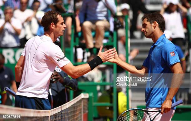 Andy Murray of Great Britain and Albert RamosVinolas of Spain shake hands following their third round match on day 5 of the Monte Carlo Rolex Masters...