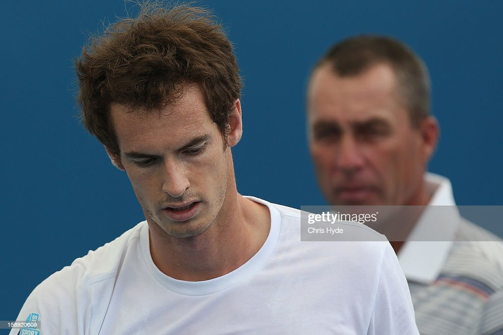 Andy Murray of Great Britain and coach Ivan Lendl look on during a practice session on day six of the Brisbane International at Pat Rafter Arena on January 4, 2013 in Brisbane, Australia.
