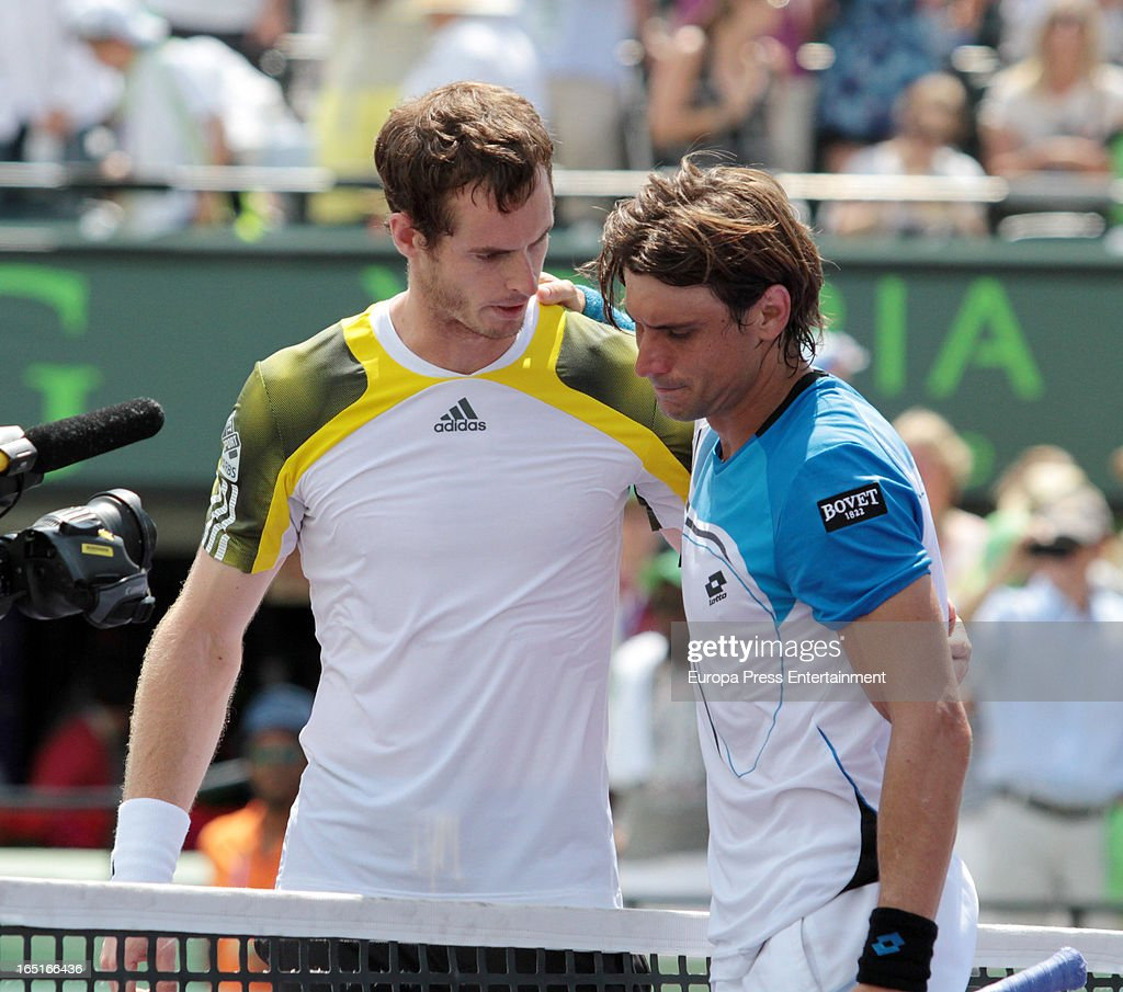 Andy Murray of Great Britain (L) and David Ferrer of Spain during their final match at the Sony Open at Crandon Park Tennis Center on March 31, 2013 in Miami, Florida.