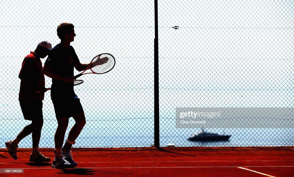 Andy Murray of Great Britain and his coach Ivan Lendl at a practice session prior to his second round match during day three of the ATP Monte Carlo Masters,at Monte-Carlo Sporting Club on April 16, 2013 in Monte-Carlo, Monaco.