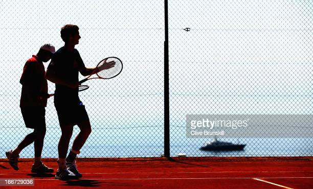 Andy Murray of Great Britain and his coach Ivan Lendl at a practice session prior to his second round match during day three of the ATP Monte Carlo...