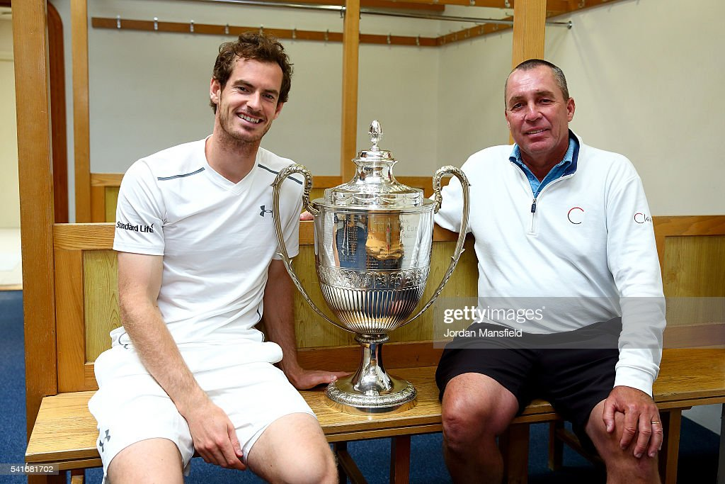 <a gi-track='captionPersonalityLinkClicked' href=/galleries/search?phrase=Andy+Murray+-+Tennis+Player&family=editorial&specificpeople=200668 ng-click='$event.stopPropagation()'>Andy Murray</a> of Great Britain (L) and his coach <a gi-track='captionPersonalityLinkClicked' href=/galleries/search?phrase=Ivan+Lendl&family=editorial&specificpeople=242990 ng-click='$event.stopPropagation()'>Ivan Lendl</a> (R) pose with the Aegon Championships trophy after winning his record breaking fifth title with victory in his final match against Milos Raonic of Canada during day seven of the Aegon Championships at the Queens Club on June 19, 2016 in London, England.