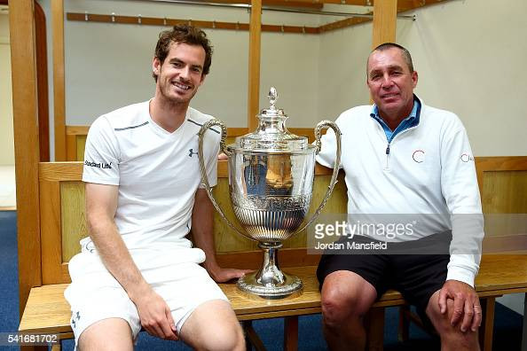 Andy Murray of Great Britain and his coach Ivan Lendl pose with the Aegon Championships trophy after winning his record breaking fifth title with...