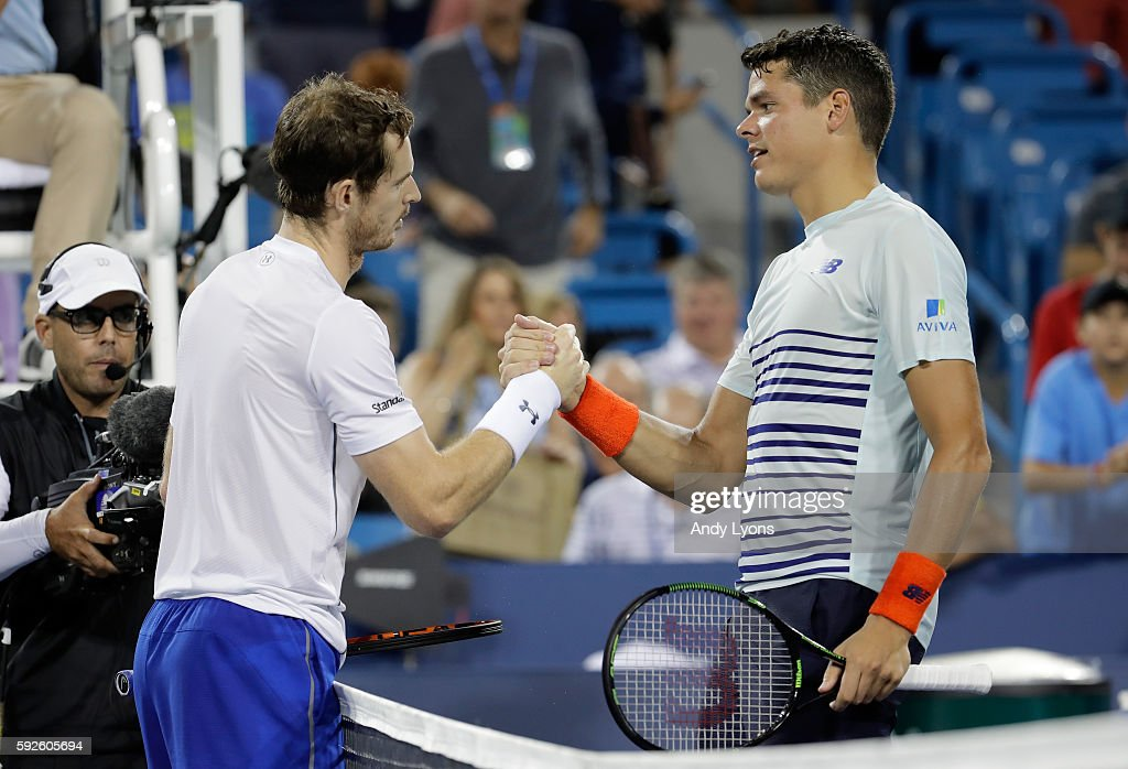 Andy Murray of Great Britain and Milos Raonic of Canada shake hands after Murray won their semifinal match 6-3, 6-3 during day 8 of the Western & Southern Open at the Lindner Family Tennis Center on August 20, 2016 in Mason, Ohio.
