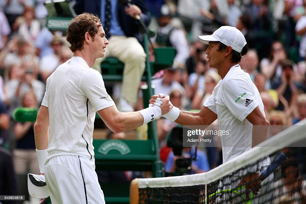 <a gi-track='captionPersonalityLinkClicked' href=/galleries/search?phrase=Andy+Murray+-+Tennis+Player&family=editorial&specificpeople=200668 ng-click='$event.stopPropagation()'>Andy Murray</a> of Great Britain and <a gi-track='captionPersonalityLinkClicked' href=/galleries/search?phrase=Yen-Hsun+Lu&family=editorial&specificpeople=584941 ng-click='$event.stopPropagation()'>Yen-Hsun Lu</a> of Taipei shake hands following the Men's Singles second round match on day four of the Wimbledon Lawn Tennis Championships at the All England Lawn Tennis and Croquet Club on June 30, 2016 in London, England.