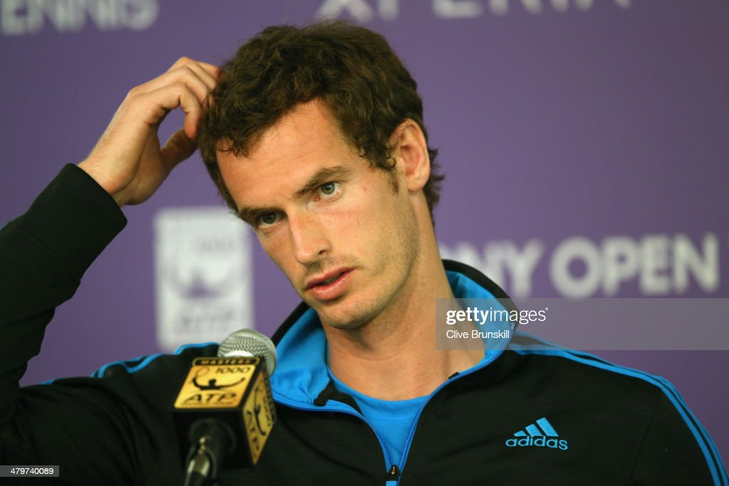 Andy Murray of Great Britain answers questions from the media during a press conference prior to his second round match during day 4 at the Sony Open at Crandon Park Tennis Center on March 20, 2014 in Key Biscayne, Florida.
