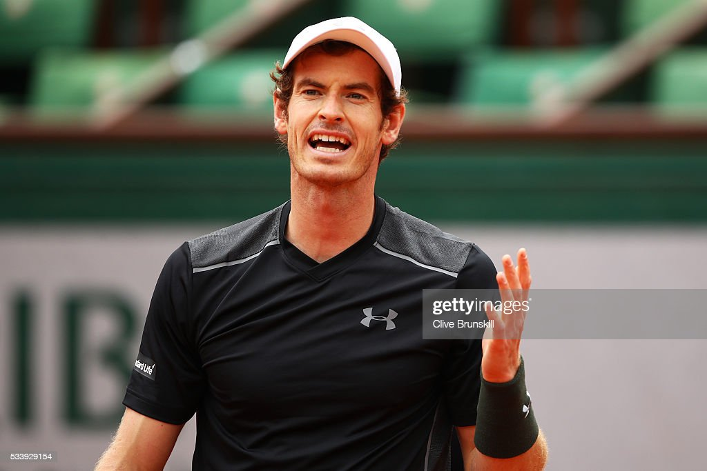 <a gi-track='captionPersonalityLinkClicked' href=/galleries/search?phrase=Andy+Murray+-+Tennis+Player&family=editorial&specificpeople=200668 ng-click='$event.stopPropagation()'>Andy Murray</a> of Great Britain argues for the television spidercam to be moved during the Men's Singles first round match against Radek Stepanek of the Czech Republic on day three of the 2016 French Open at Roland Garros on May 24, 2016 in Paris, France.