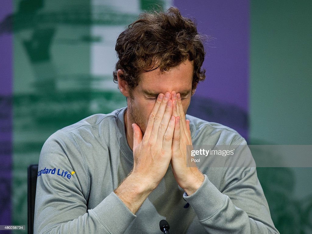 Andy Murray of Great Britain attends a press conference after losing his Gentlemens Singles Semi Final match against Roger Federer of Switzerland during day eleven of the Wimbledon Lawn Tennis Championships at the All England Lawn Tennis and Croquet Club on July 10, 2015 in London, England.