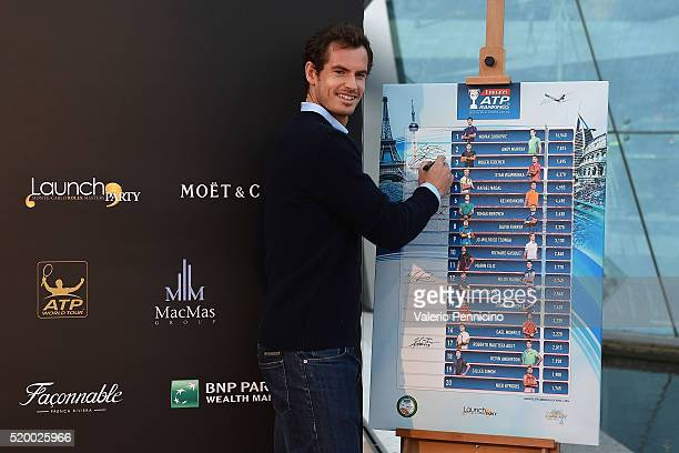 Andy Murray of Great Britain attends the Launch Party at Zelo's Monaco during preview day of the ATP Monte Carlo Masters at the MonteCarlo Country...