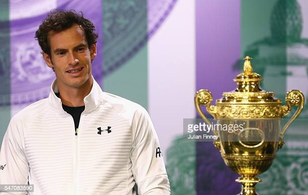 Andy Murray of Great Britain attends the winner's press conference at Wimbledon on July 11 2016 in London England