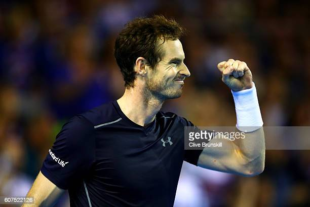 Andy Murray of Great Britain celebrates a break point during his singles match against Guido Pella of Argentina during day three of the Davis Cup...