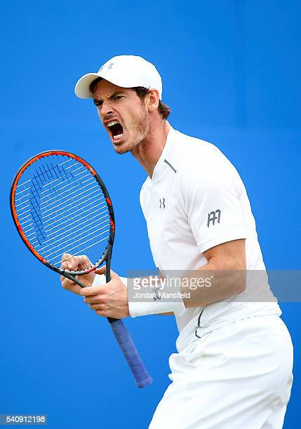 Andy Murray of Great Britain celebrates a game point during his quarterfinal match against Kyle Edmund of Great Britain during day five of the Aegon...