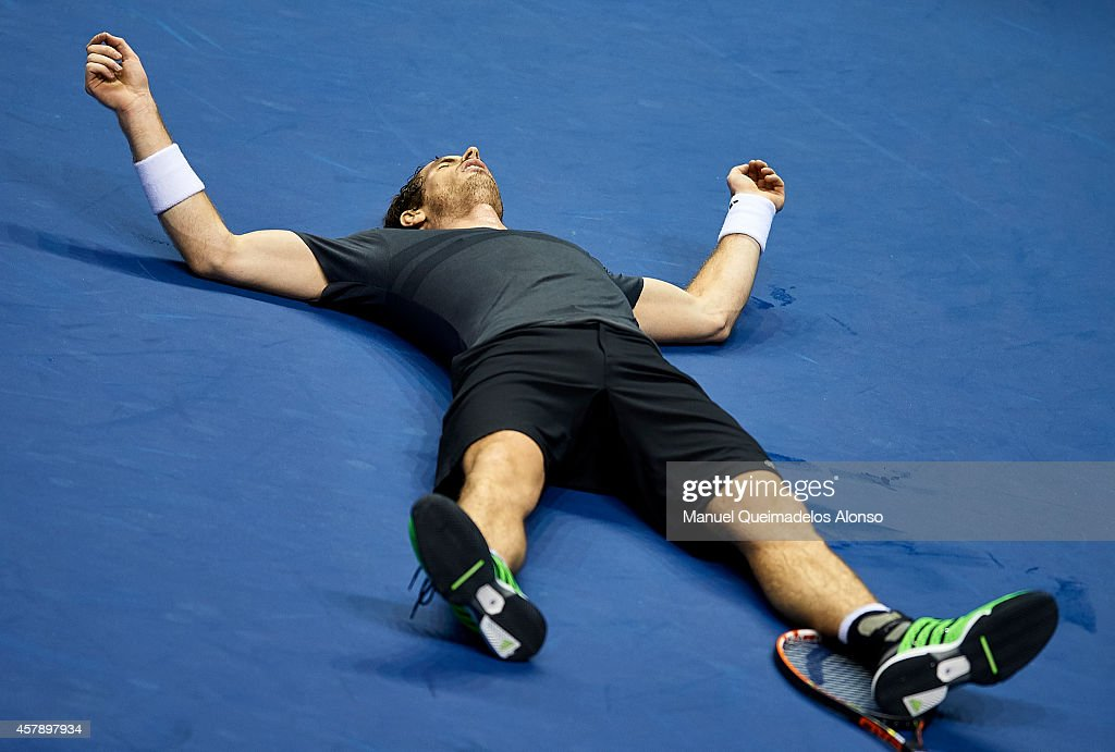 Andy Murray of Great Britain celebrates a match point against Tommy Robredo of Spain in the final during day seven of the ATP 500 World Tour Valencia Open tennis tournament at the Ciudad de las Artes y las Ciencias on October 26, 2014 in Valencia, Spain.
