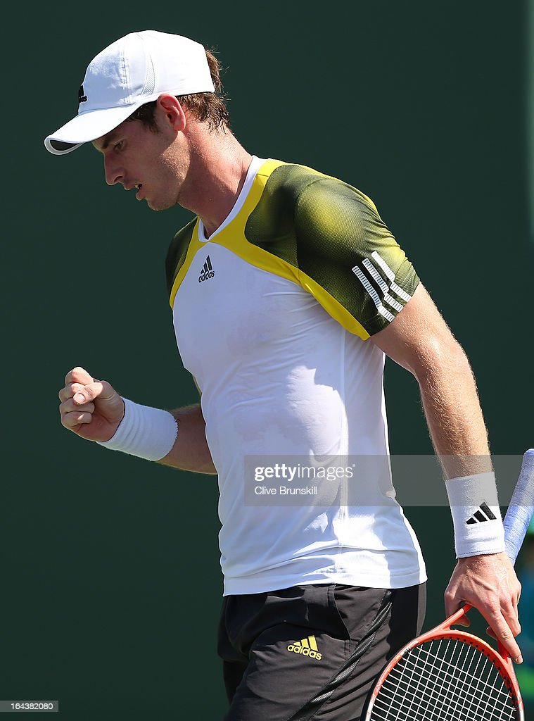 Andy Murray of Great Britain celebrates a point against Bernard Tomic of Australia during their second round match at the Sony Open at Crandon Park Tennis Center on March 23, 2013 in Key Biscayne, Florida.