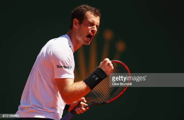 Andy Murray of Great Britain celebrates a point against Gilles Muller of Luxembourg in his second round match on day four of the Monte Carlo Rolex...