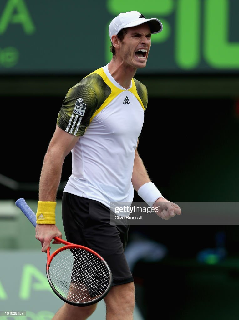 <a gi-track='captionPersonalityLinkClicked' href=/galleries/search?phrase=Andy+Murray+-+Tennis+Player&family=editorial&specificpeople=200668 ng-click='$event.stopPropagation()'>Andy Murray</a> of Great Britain celebrates a point against Grigor Dimitrov of Bulgaria during their third round match at the Sony Open at Crandon Park Tennis Center on March 25, 2013 in Key Biscayne, Florida.