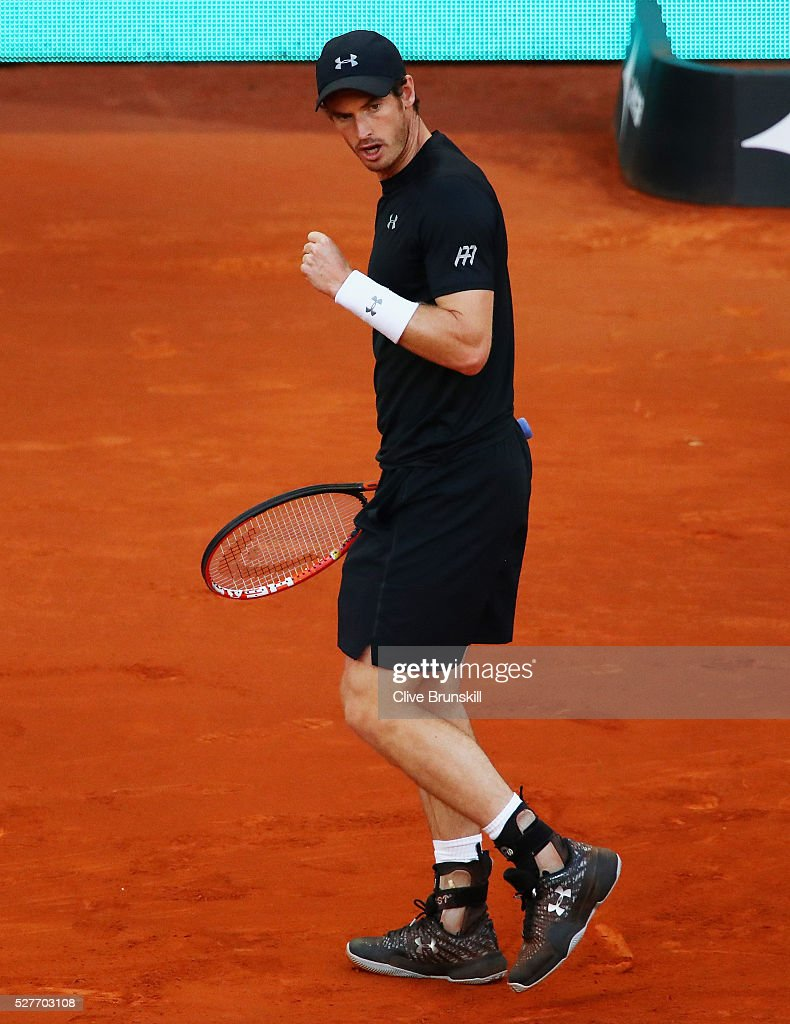 Andy Murray of Great Britain celebrates a point against Radek Stepanek of the Czech Republic in their second round match during day four of the Mutua Madrid Open tennis tournament at the Caja Magica on May 03, 2016 in Madrid,Spain.