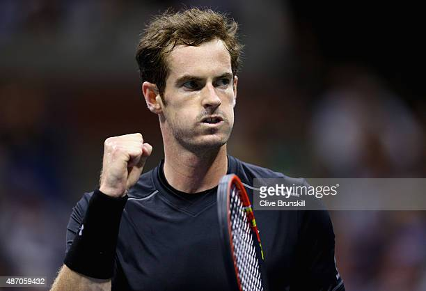 Andy Murray of Great Britain celebrates a point against Thomaz Bellucci of Brazil during their mens singles third round match on Day Six of the 2015...