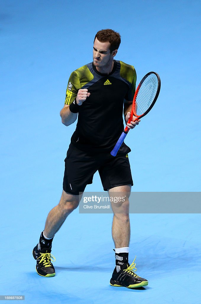 Andy Murray of Great Britain celebrates a point during his men's singles match against Jo-Wilfried Tsonga of France on day five of the ATP World Tour Finals at O2 Arena on November 9, 2012 in London, England.