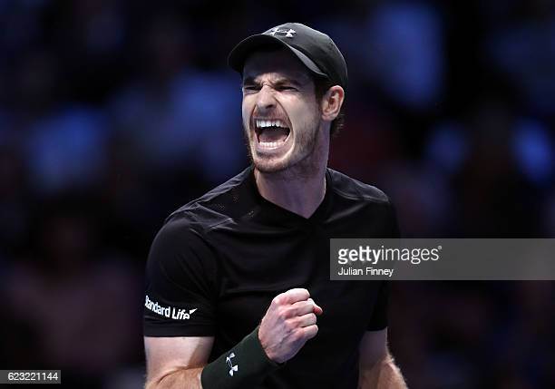 Andy Murray of Great Britain celebrates a point during the mens singles match against Marin Cilic of Croatia on day two of the ATP World Tour Finals...