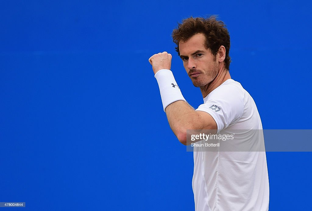 Andy Murray of Great Britain celebrates a point in his men's singles final match against Kevin Anderson of South Africa during day seven of the Aegon Championships at Queen's Club on June 21, 2015 in London, England.