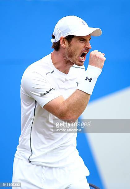 Andy Murray of Great Britain celebrates a set point during his final match against Milos Raonic of Canada during day seven of the Aegon Championships...