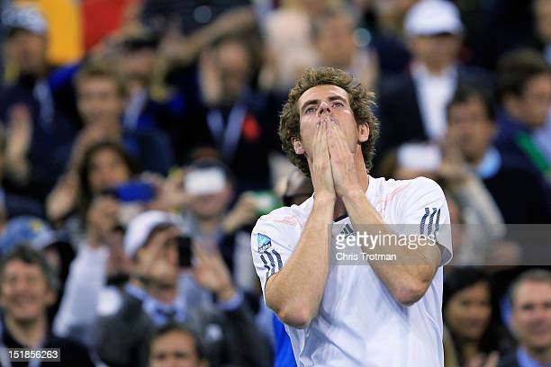 Andy Murray of Great Britain celebrates after defeating Novak on Day Fifteen of the 2012 US Open at the USTA Billie Jean King National Tennis Center...