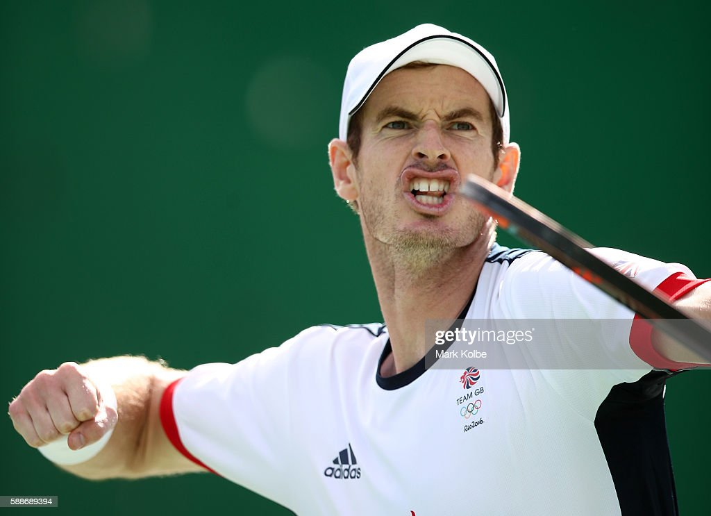 Andy Murray of Great Britain celebrates after defeating Steve Johnson of the United States in the Men's Singles Quarterfinal on Day 7 of the Rio 2016 Olympic Games at the Olympic Tennis Centre on August 12, 2016 in Rio de Janeiro, Brazil.