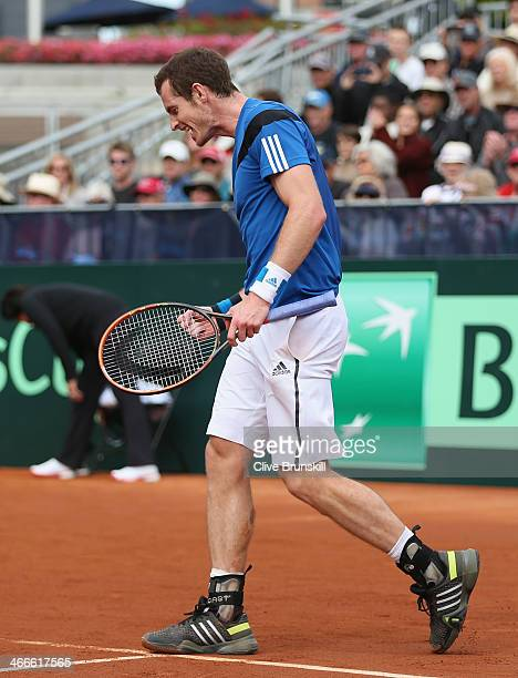 Andy Murray of Great Britain celebrates after match point against Sam Querrey of the United States during day three of the Davis Cup World Group...