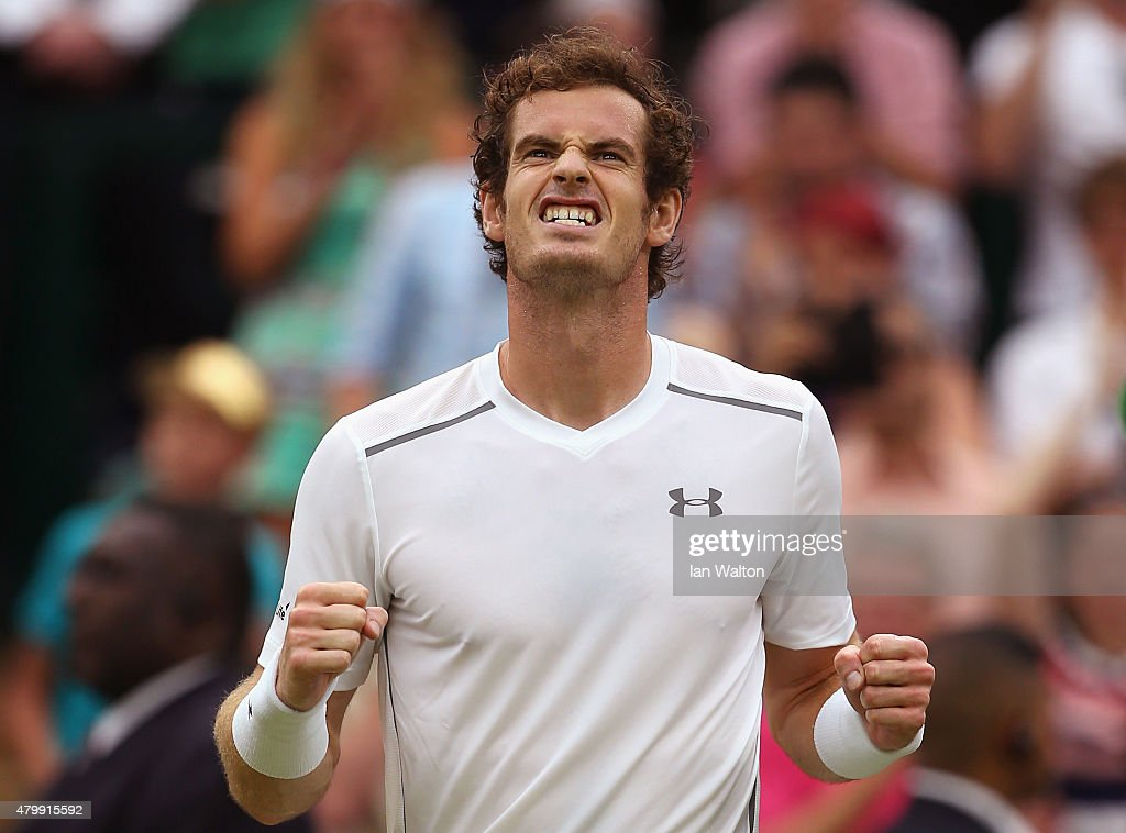 Andy Murray of Great Britain celebrates after winning his Gentlemens Singles Quarter Final match against Vasek Pospisil of Canada during day nine of...