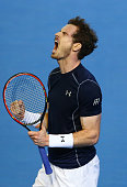 Andy Murray of Great Britain celebrates after winning the second set during the singles match against Kei Nishikori of Japan on day three of the...