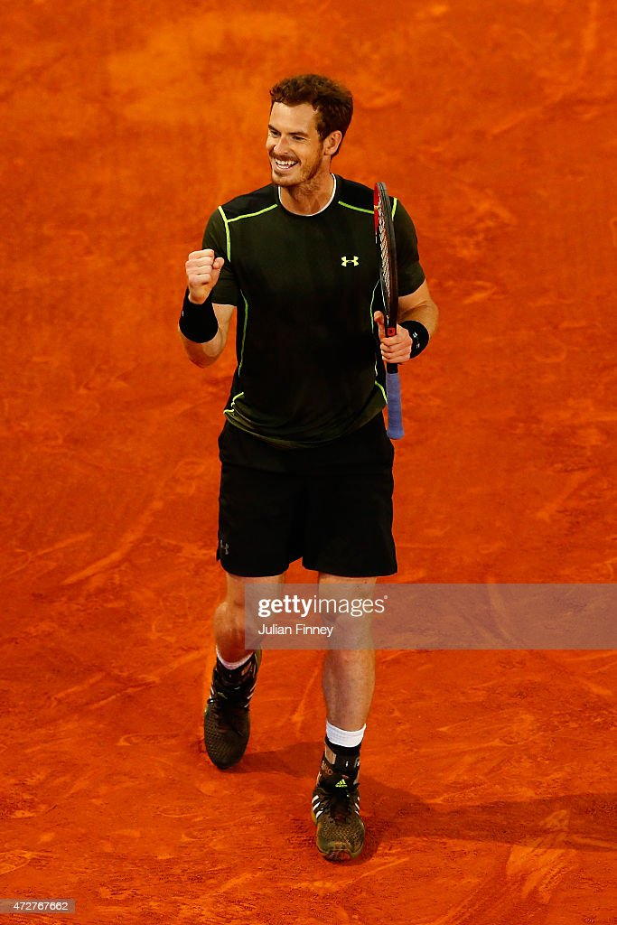 Andy Murray of Great Britain celebrates at match point against Kei Nishikori of Japan in the semi final during day eight of the Mutua Madrid Open tennis tournament at the Caja Magica on May 9, 2015 in Madrid, Spain.