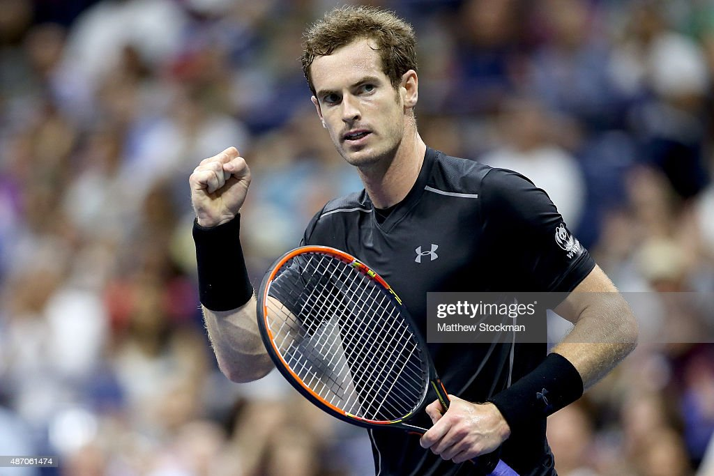 Andy Murray of Great Britain celebrates breaking Thomaz Bellucci of Brazil during their Men's Singles Third Round match on Day Six of the 2015 US Open at the USTA Billie Jean King National Tennis Center on September 5, 2015 in the Flushing neighborhood of the Queens borough of New York City.