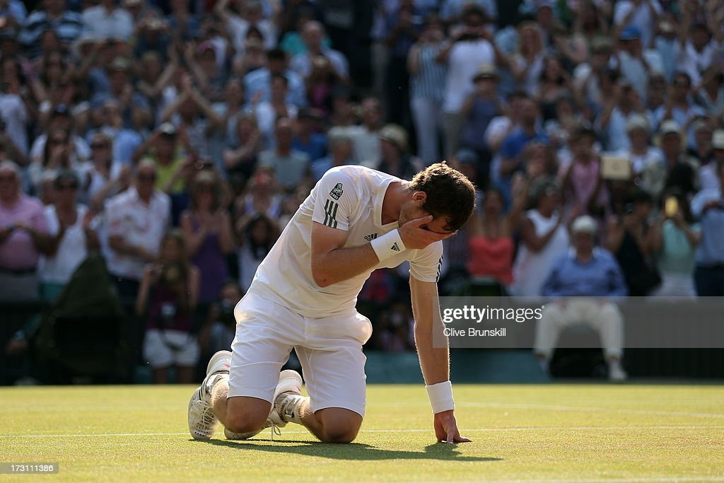 Andy Murray of Great Britain celebrates Championship point during the Gentlemen's Singles Final match against Novak Djokovic of Serbia on day thirteen of the Wimbledon Lawn Tennis Championships at the All England Lawn Tennis and Croquet Club on July 7, 2013 in London, England.