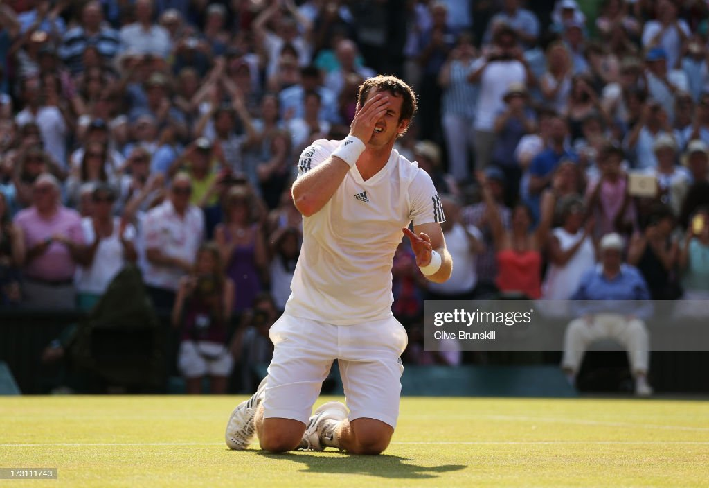 <a gi-track='captionPersonalityLinkClicked' href=/galleries/search?phrase=Andy+Murray+-+Tennis+Player&family=editorial&specificpeople=200668 ng-click='$event.stopPropagation()'>Andy Murray</a> of Great Britain celebrates Championship point during the Gentlemen's Singles Final match against Novak Djokovic of Serbia on day thirteen of the Wimbledon Lawn Tennis Championships at the All England Lawn Tennis and Croquet Club on July 7, 2013 in London, England.
