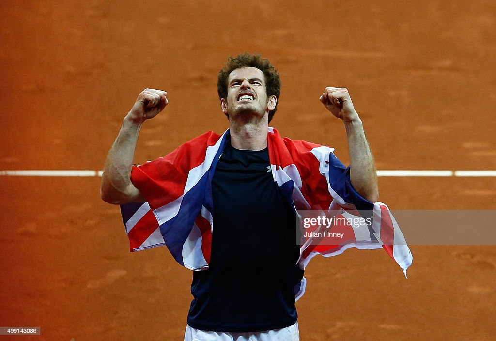 Andy Murray of Great Britain celebrates defeating David Goffin of Begium to win the Davis Cup during day three of the Davis Cup Final between Belgium...
