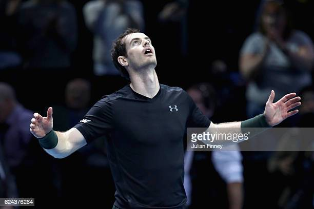 Andy Murray of Great Britain celebrates defeating Milos Raonic of Canada in their men's singles semi final on day seven of the ATP World Tour Finals...