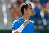 Andy Murray of Great Britain celebrates defeating Philipp Kohlschreiber of Germany during day eight of the BNP Paribas Open tennis at the Indian...