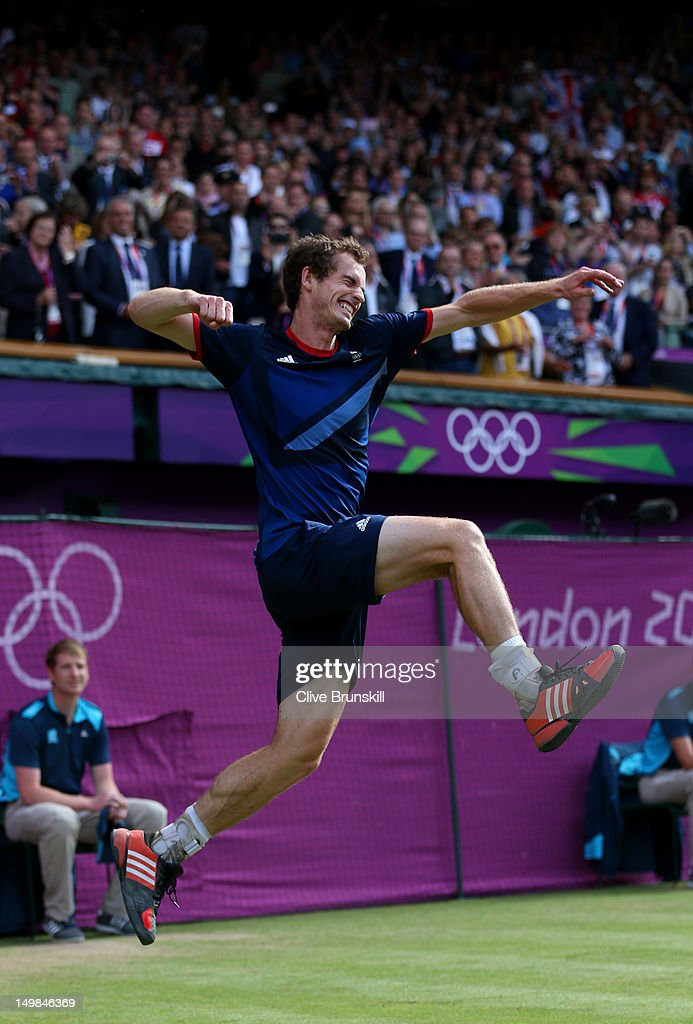 Andy Murray of Great Britain celebrates defeating Roger Federer of Switzerland in the Men's Singles Tennis Gold Medal Match on Day 9 of the London 2012 Olympic Games at the All England Lawn Tennis and Croquet Club on August 5, 2012 in London, England. Murray defeated Federer in the gold medal match in straight sets 2-6, 1-6, 4-6.