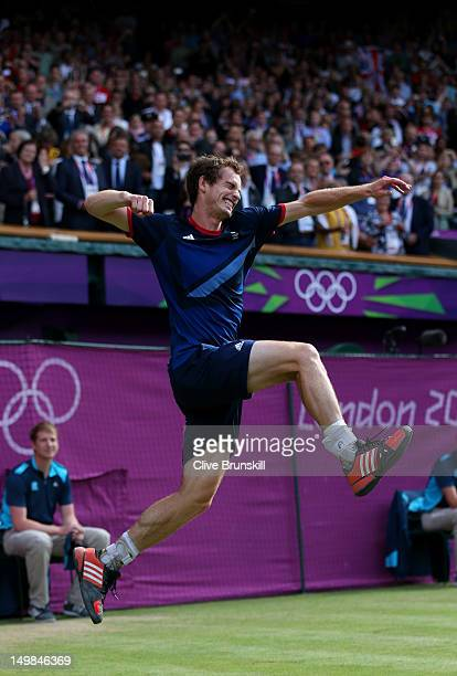 Andy Murray of Great Britain celebrates defeating Roger Federer of Switzerland in the Men's Singles Tennis Gold Medal Match on Day 9 of the London...